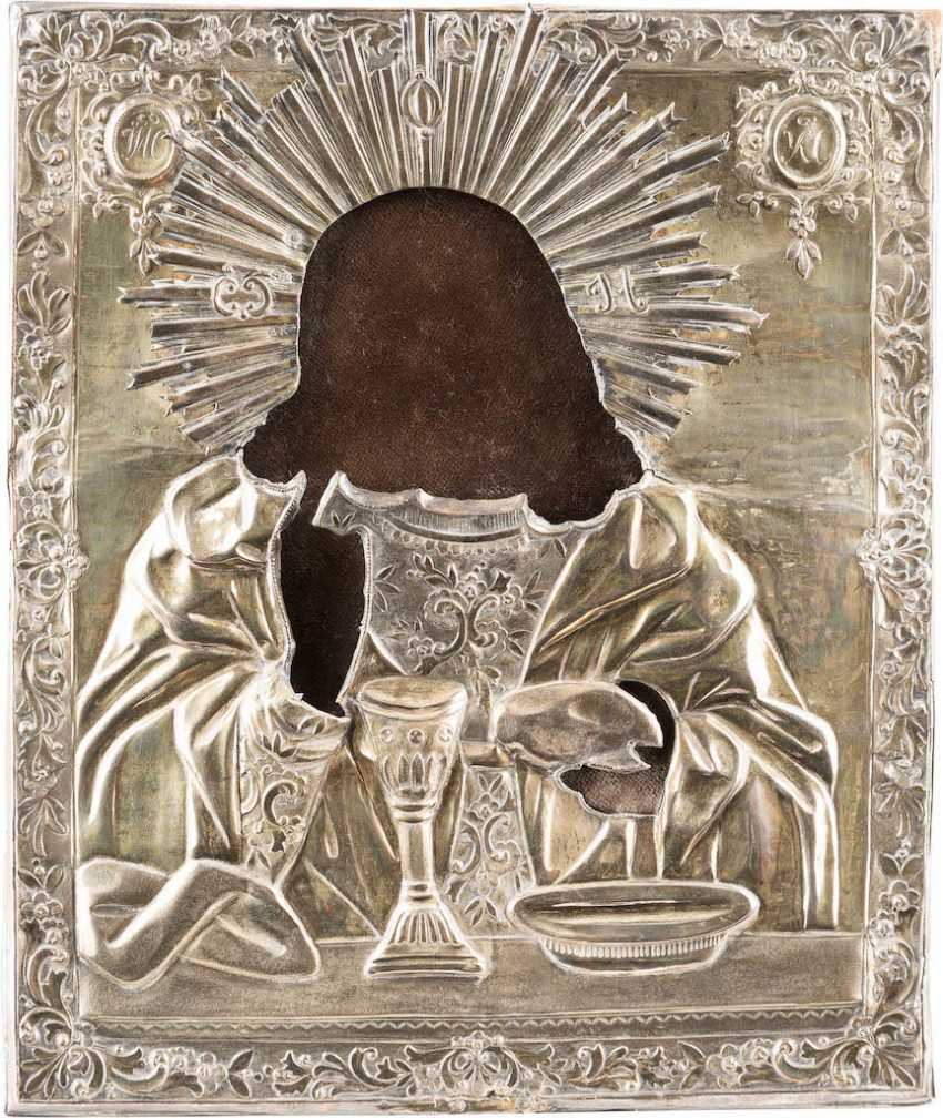 VERMEIL-OKLAD ICON WITH CHRIST PANTOCRATOR WITH THE EUCHARIST - photo 1