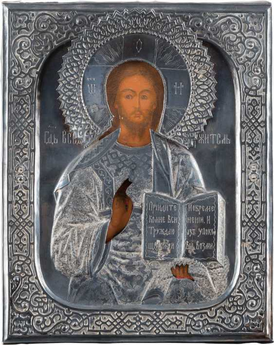 A SMALL ICON WITH CHRIST PANTOKRATOR WITH SILVER OKLAD - photo 1