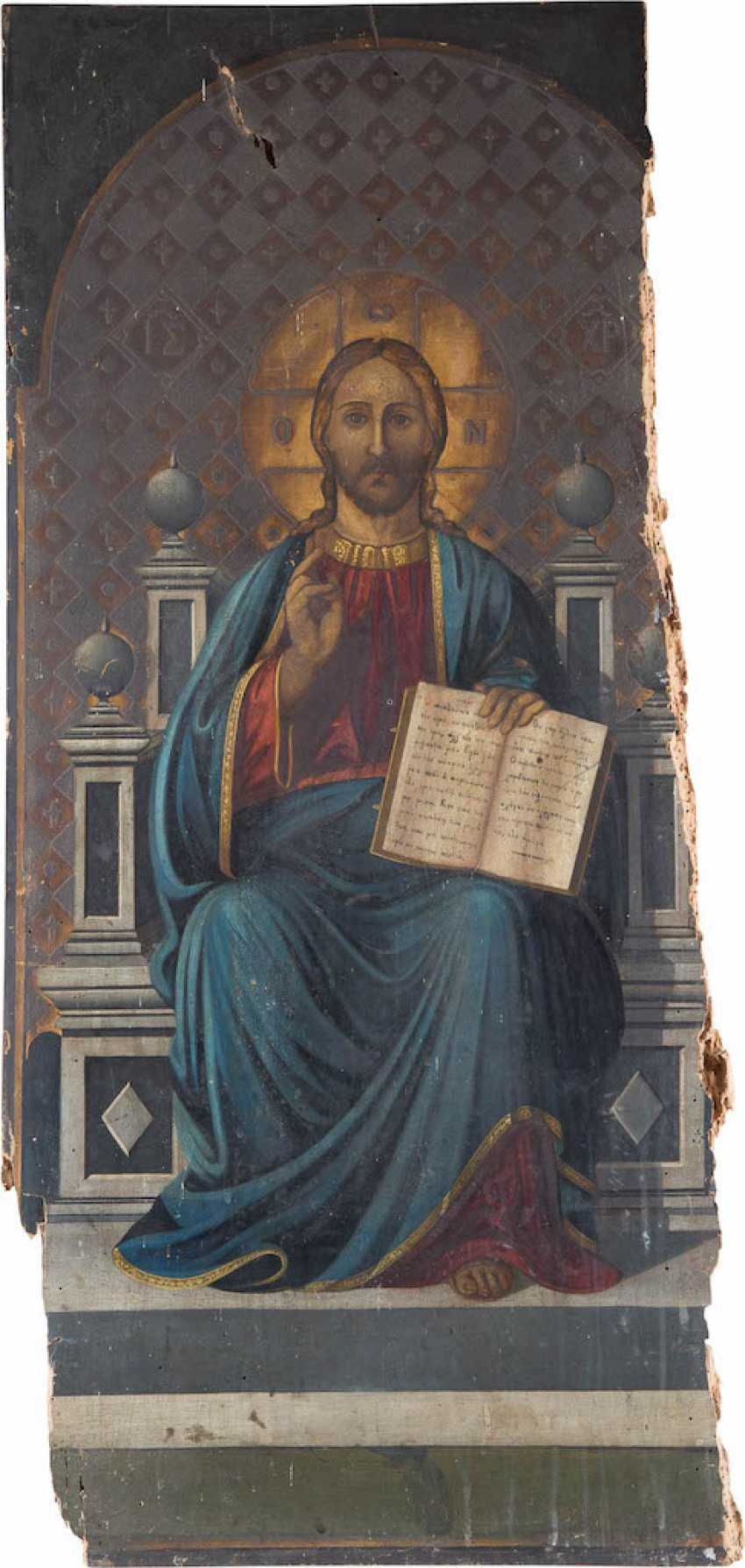 A MONUMENTAL ICON WITH THE ENTHRONED CHRIST, THE RULER OF THE WORLD FROM A CHURCH ICONOSTASIS - photo 1