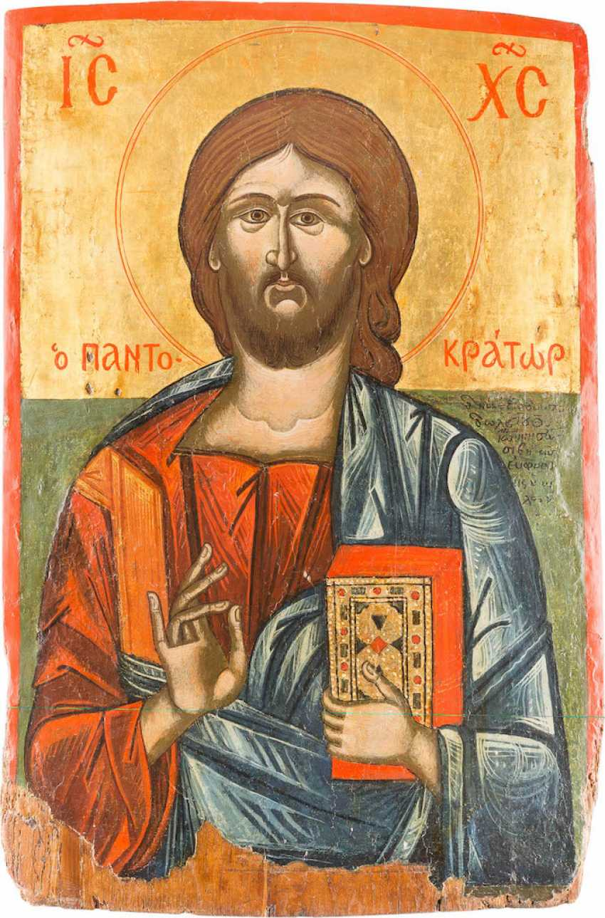 A MONUMENTAL ICON OF CHRIST PANTOCRATOR FROM A CHURCH ICONOSTASIS - photo 1