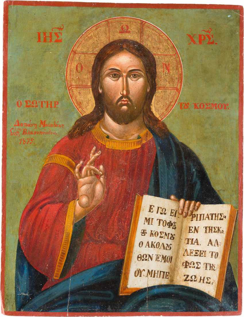 LARGE-FORMAT-SIGNED AND DATED ICON WITH CHRIST PANTOKRATOR - photo 1
