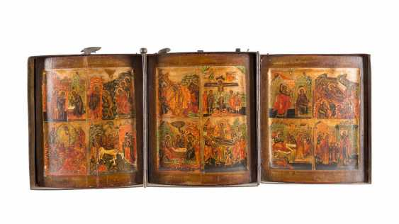 A FINE TRIPTYCH WITH THE HIGH STRENGTH OF THE ORTHODOX CHURCH YEAR IN MINIATURE PAINTING - photo 1