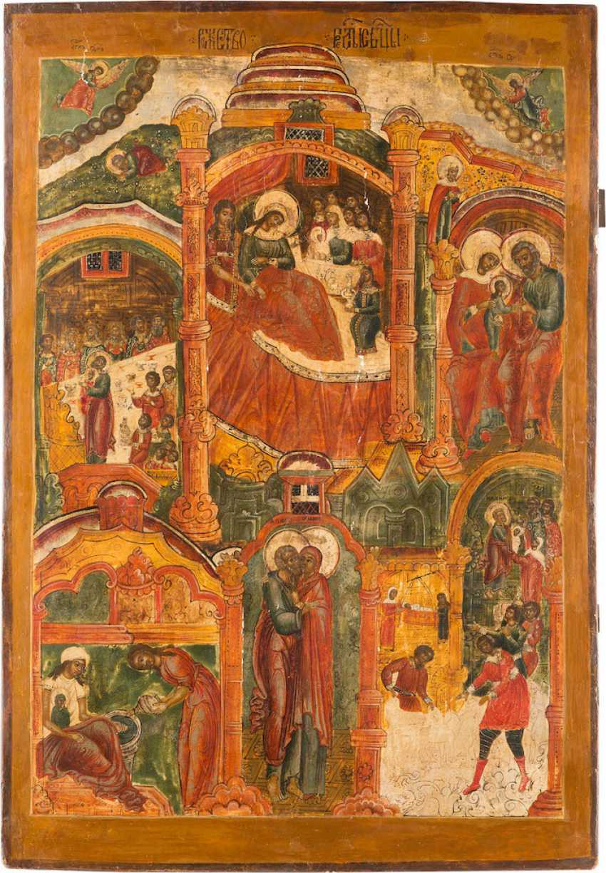 A MONUMENTAL ICON OF THE NATIVITY OF THE MOTHER OF GOD FROM A CHURCH ICONOSTASIS - photo 1