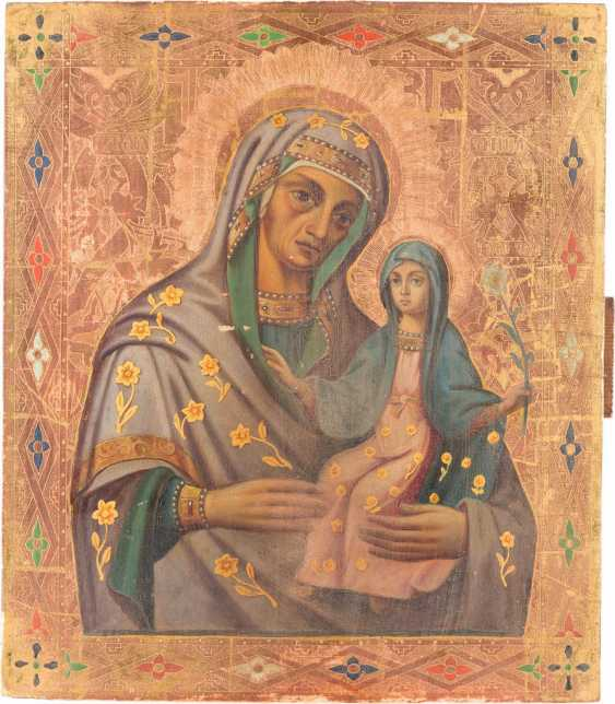 RARE DATED ICON OF ST. ANNA WITH HER DAUGHTER MARY - photo 3