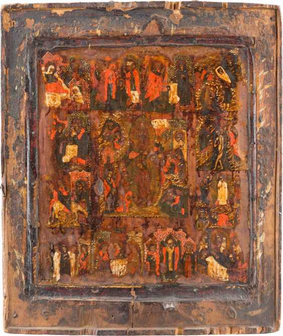 ICON THE RESURRECTION AND DESCENT INTO HELL OF CHRIST WITH THE TWELVE GREAT FEASTS OF THE ORTHODOX CHURCH YEAR - photo 1
