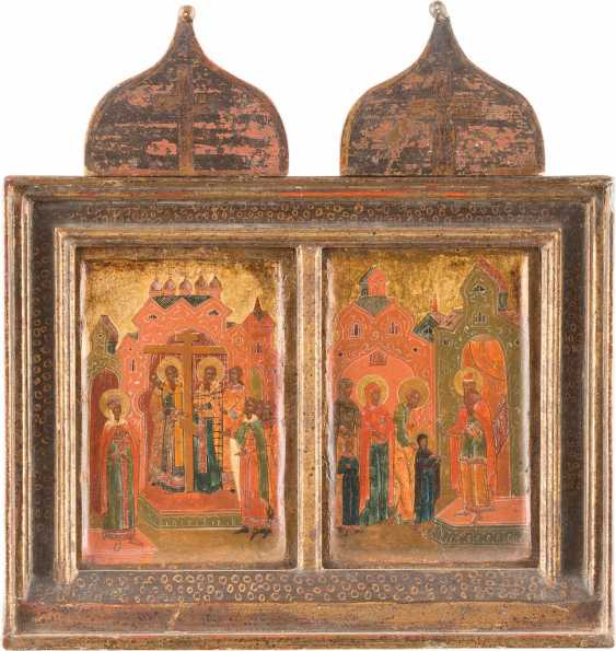 TWO SMALL ICONS WITH THE INCREASE OF THE TRUE CROSS AND THE TEMPLE GANG, THE MOTHER OF GOD - photo 1