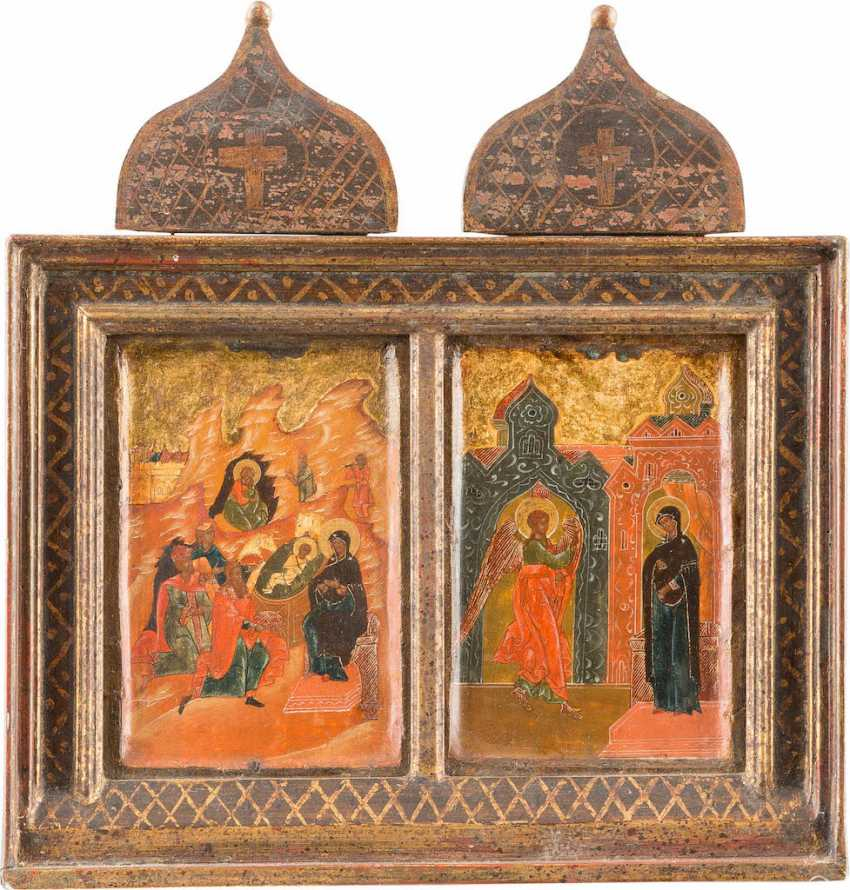 TWO SMALL ICONS WITH THE BIRTH OF CHRIST AND THE ANNUNCIATION OF THE MOTHER OF GOD - photo 1