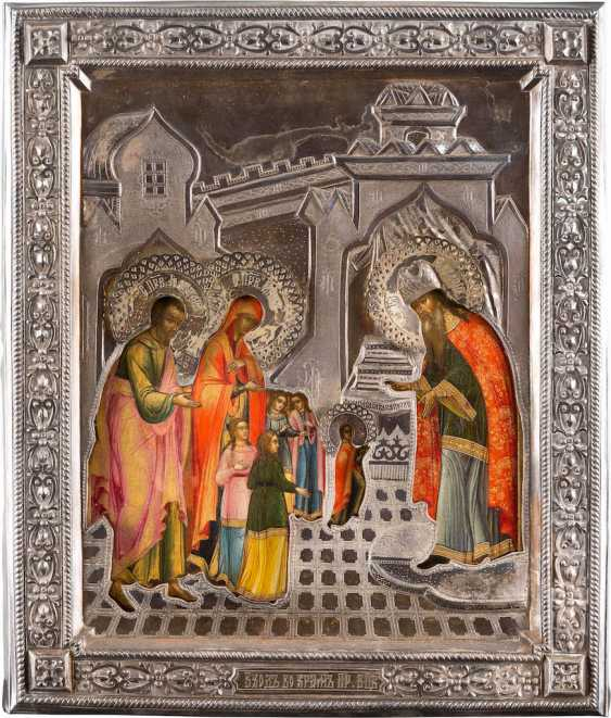VERY FINE ICON WITH THE TEMPLE GANG OF MARY WITH SILVER RIZA - photo 1
