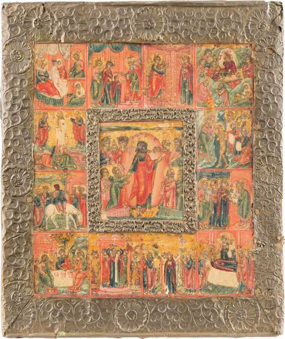 ICON THE DESCENT OF CHRIST INTO HELL, WITH TWELVE HIGH-STRENGTH AND BASMA - photo 1