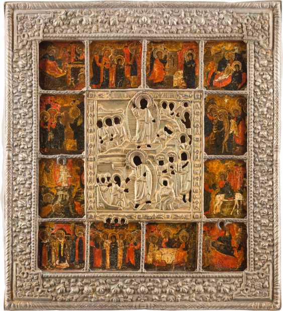 ICON OF THE DESCENT INTO HELL AND RESURRECTION OF CHRIST WITH TWELVE HIGH STRENGTH WITH BASMA - photo 1