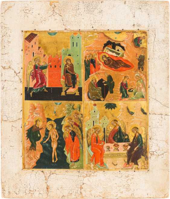 FOUR FIELDS ICON WITH THE ANNUNCIATION, THE BIRTH AND THE BAPTISM CHRIST AND THE HOLY TRINITY - photo 1