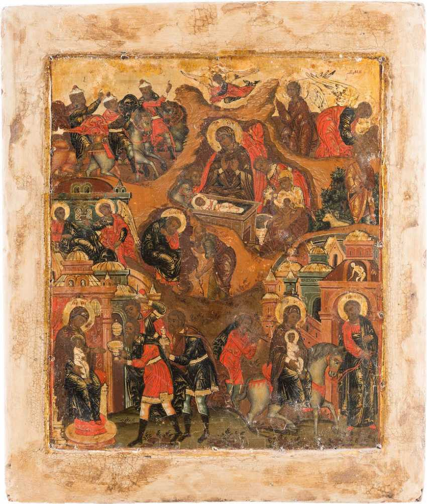 VERY FINE ICON OF THE NATIVITY WITH THE ADORATION OF THE MAGI AND THE FLIGHT TO EGYPT WITH VERMEIL-OKLAD - photo 2
