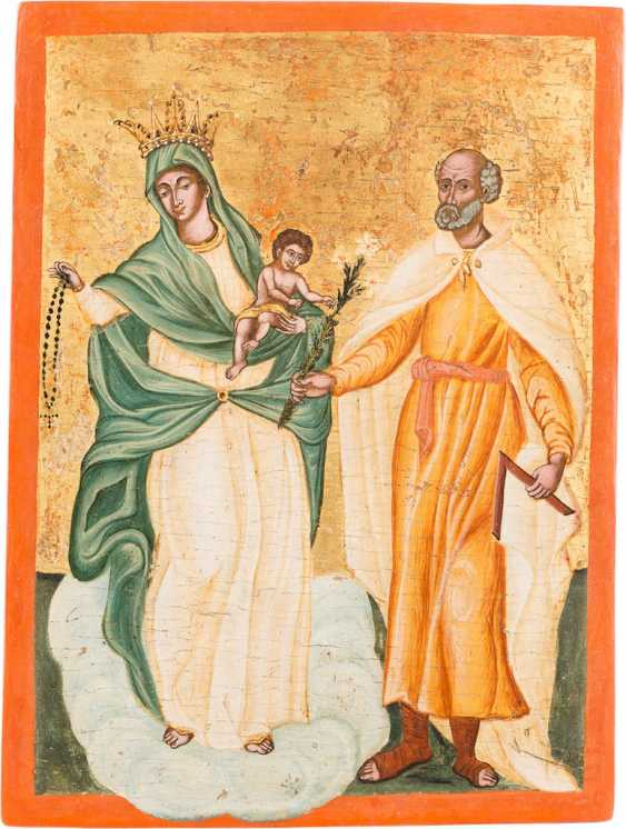 RARE AND LARGE-FORMAT ICON WITH THE HOLY FAMILY - photo 1