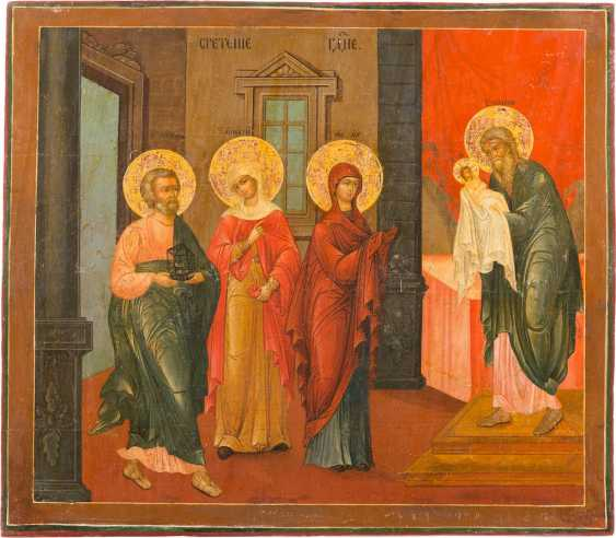 LARGE-FORMAT ICON WITH THE PRESENTATION OF CHRIST IN THE TEMPLE FROM A CHURCH ICONOSTASIS - photo 1