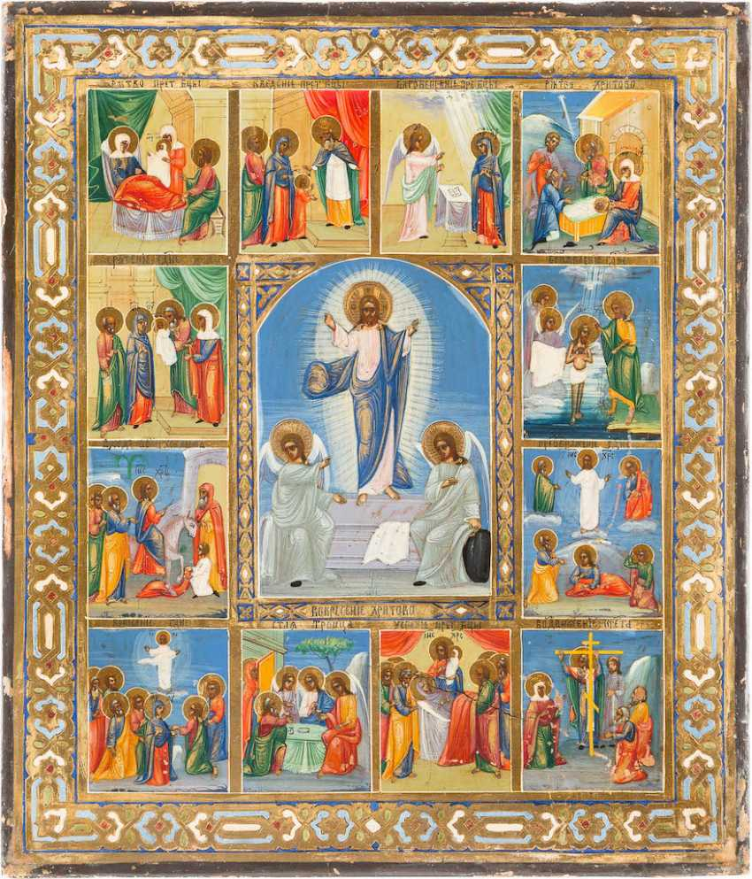 ICON WITH RESURRECTION AND TWELVE HIGH-STRENGTH - photo 1