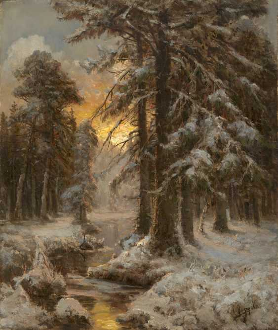 FEDOROV, SEMION (1867-1910) Sunset in the Winter Forest , signed. - photo 1