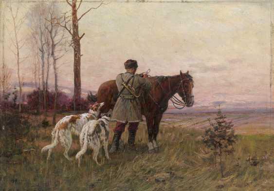 TIKHMENEV, EVGENY (1869-1934) Before the Hunt , signed. - photo 1