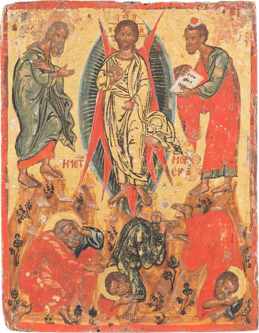 FINE ICON WITH THE TRANSFIGURATION OF CHRIST ON MOUNT TABOR - photo 1