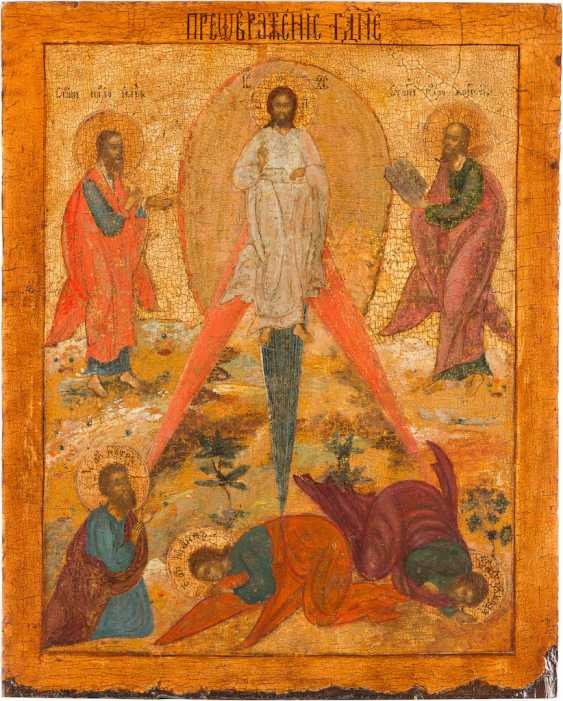 LARGE-FORMAT ICON WITH THE TRANSFIGURATION OF CHRIST ON MOUNT TABOR - photo 1