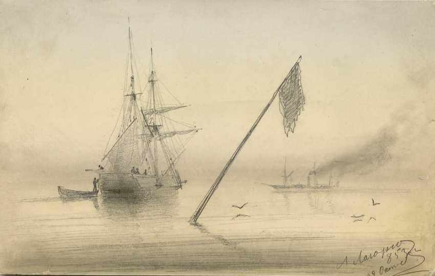 """LAGORIO, LEV (1826-1905) Sailing Boat , signed and dated """"853 g./22 Okt."""". - photo 1"""