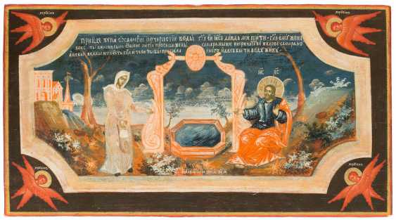 RARE AND LARGE-FORMAT ICON WITH CHRIST AND THE SAMARITHERIN AT THE FOUNTAIN FROM A CHURCH ICONOSTASIS - photo 1