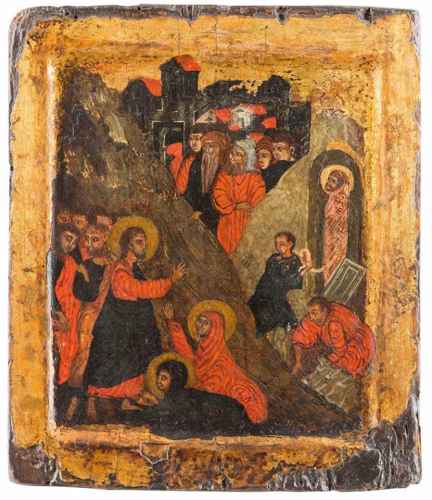 BYZANTINE ICON OF THE RAISING OF LAZARUS - photo 1