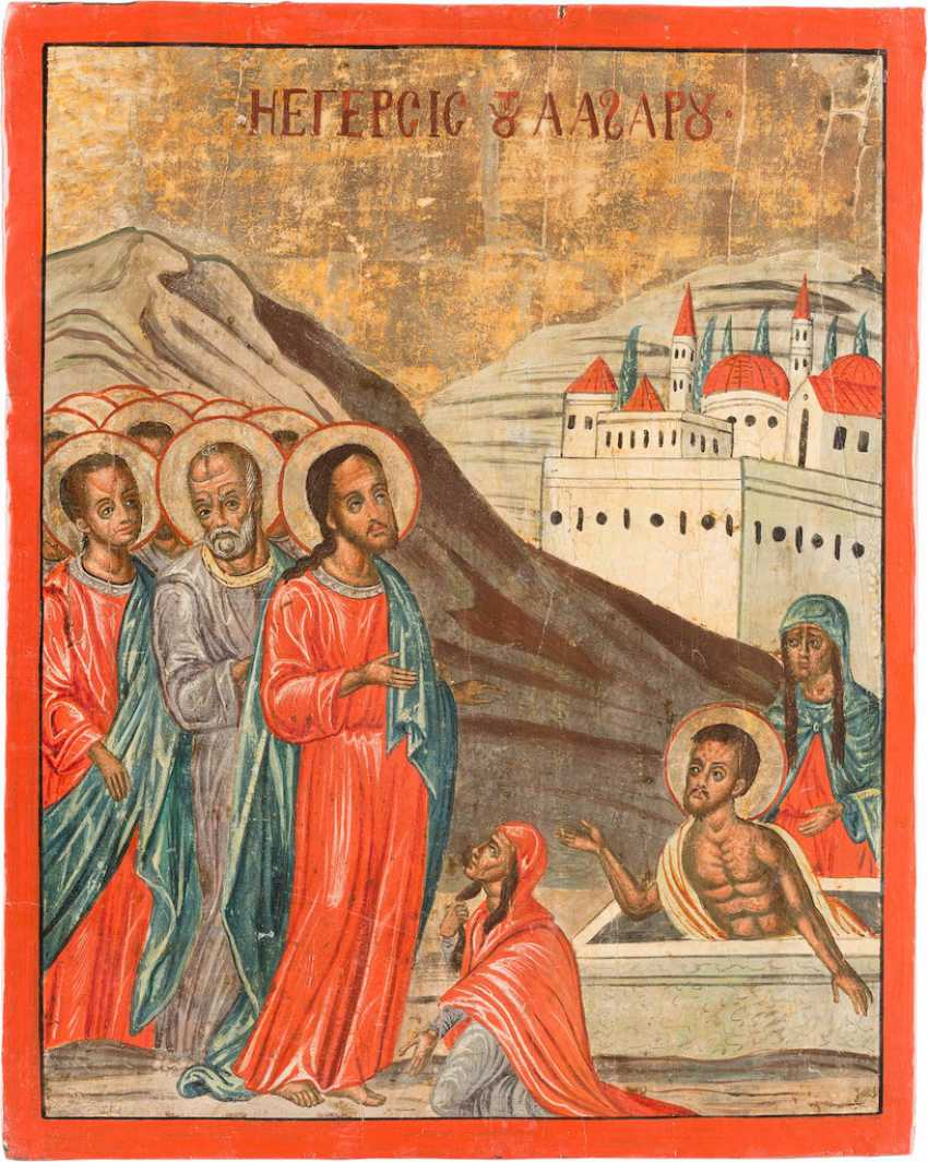 A BIG ICON WITH THE RESURRECTION OF LAZARUS - photo 1