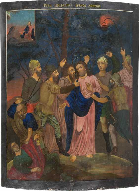 MONUMENTAL AND RARE ICON WITH THE CAPTURE OF CHRIST FROM A CHURCH ICONOSTASIS - photo 1