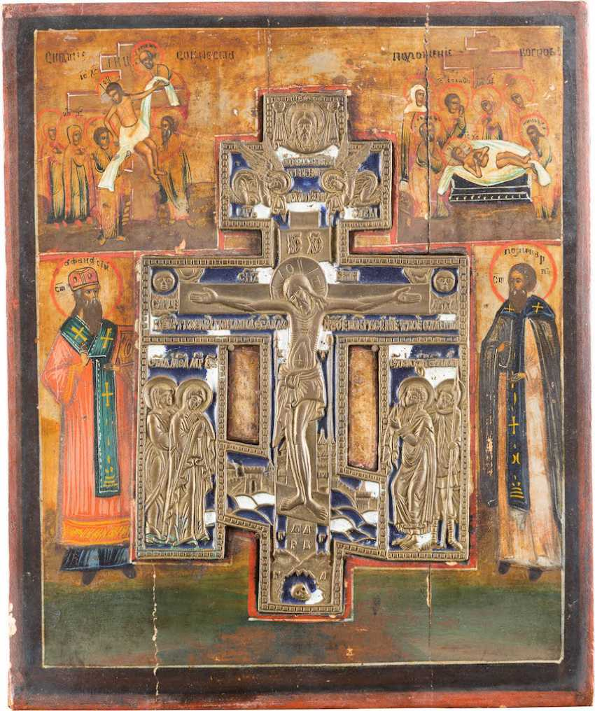 STAUROTHEKE ICON WITH THE CRUCIFIXION OF CHRIST - photo 1