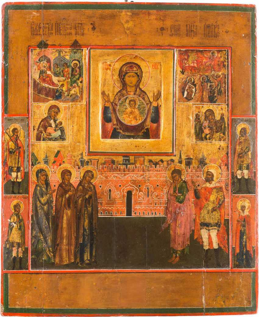 LARGE-SCALE ICON OF THE MOTHER OF GOD OF THE SIGN WITH SAINTS AND FEAST DAYS - photo 1