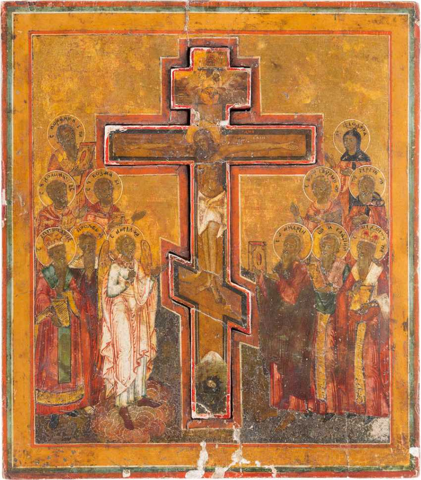 LARGE-FORMAT ICON WITH THE CRUCIFIXION OF CHRIST WITH THE TWELVE SELECTED SAINTS - photo 1