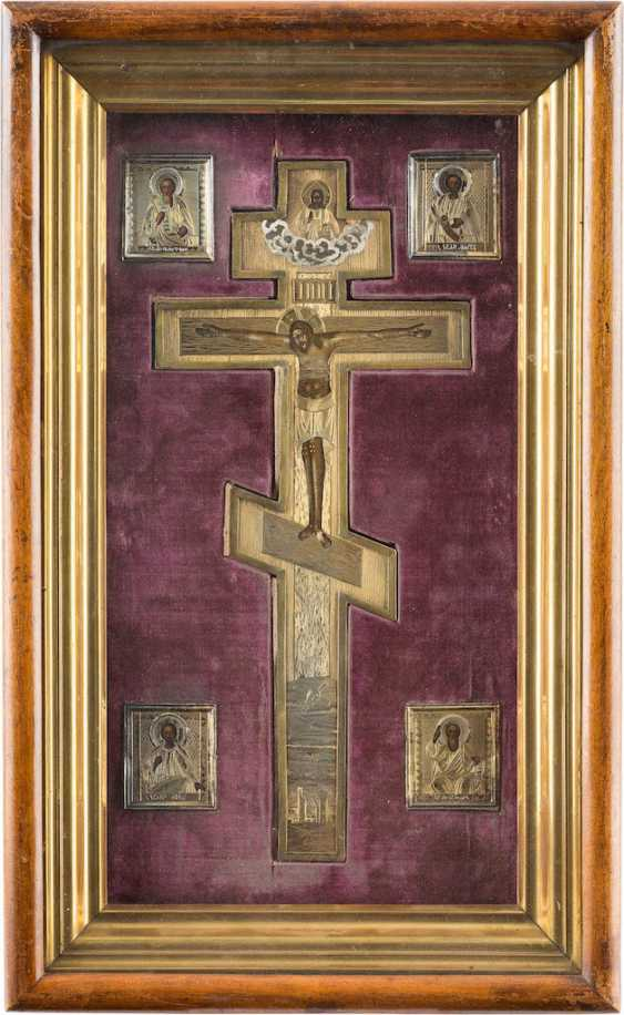 VERMEIL-BLESSING OF THE CROSS AND FOUR MINIATURE ICONS IN THE ORIGINAL THE ICON CASE - photo 1