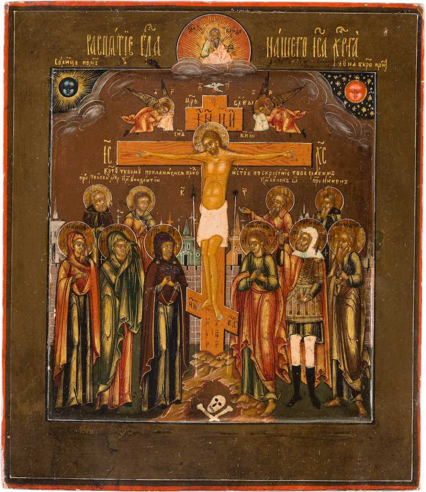A SMALL ICON WITH THE CRUCIFIXION OF CHRIST WITH SELECTED SAINTS - photo 1