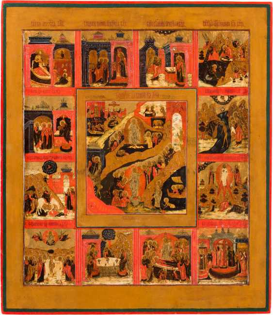 LARGE-SCALE ICON OF THE DESCENT INTO HELL AND RESURRECTION OF CHRIST WITH THE TWELVE GREAT FEASTS OF THE ORTHODOX CHURCH YEAR - photo 1