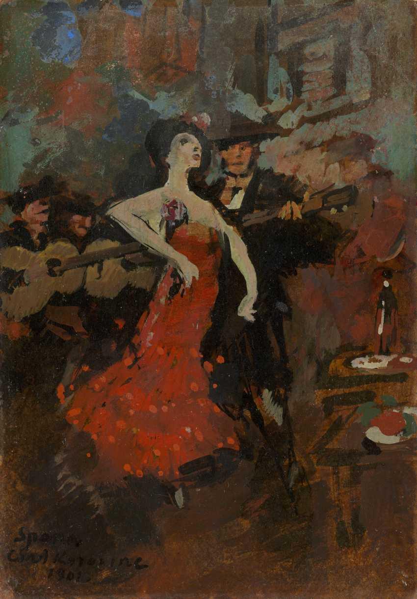 """KOROVINE, KONSTANTIN (1861-1939) Danseuse espagnole , signé, portant l'inscription """"Spana"""" et datée 1901, également plus indistinctement inscrit sur le revers. - photo 1"""
