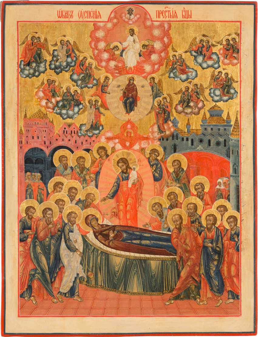 LARGE-FORMAT ICON WITH THE DORMITION OF THE MOTHER OF GOD - photo 1