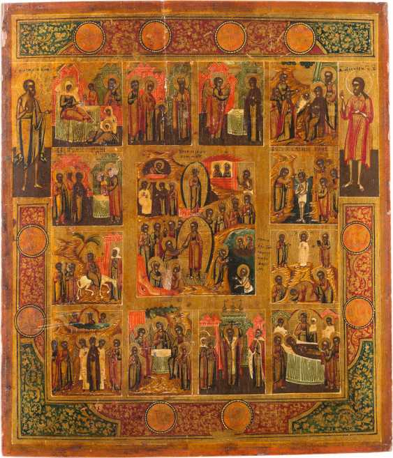ICON OF THE DESCENT INTO HELL AND RESURRECTION OF CHRIST WITH THE TWELVE GREAT FEASTS OF THE ORTHODOX CHURCH YEAR - photo 1