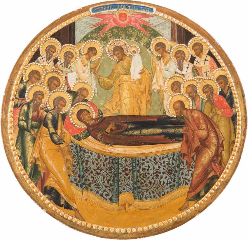 A BIG ICON WITH THE DORMITION OF THE MOTHER OF GOD FROM A CHURCH ICONOSTASIS - photo 1