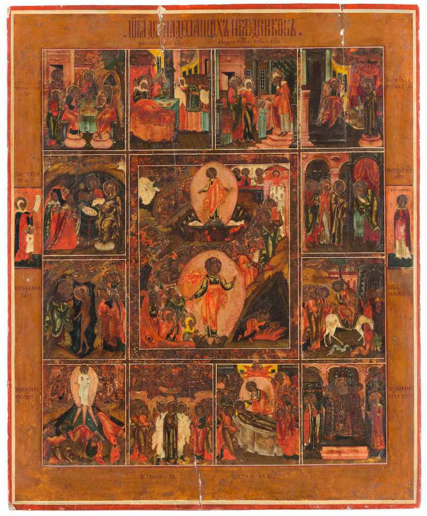 LARGE-FORMAT ICON THE RESURRECTION AND DESCENT INTO HELL OF CHRIST WITH THE TWELVE GREAT FEASTS OF THE ORTHODOX CHURCH YEAR - photo 1