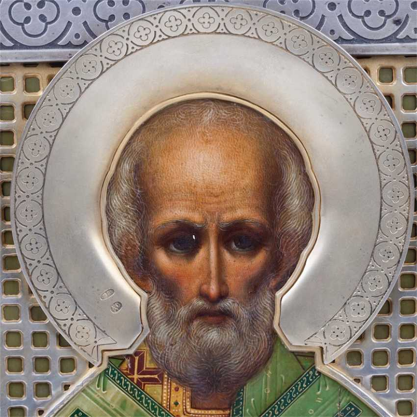 A rare icon in the art Nouveau style St. Nicholas