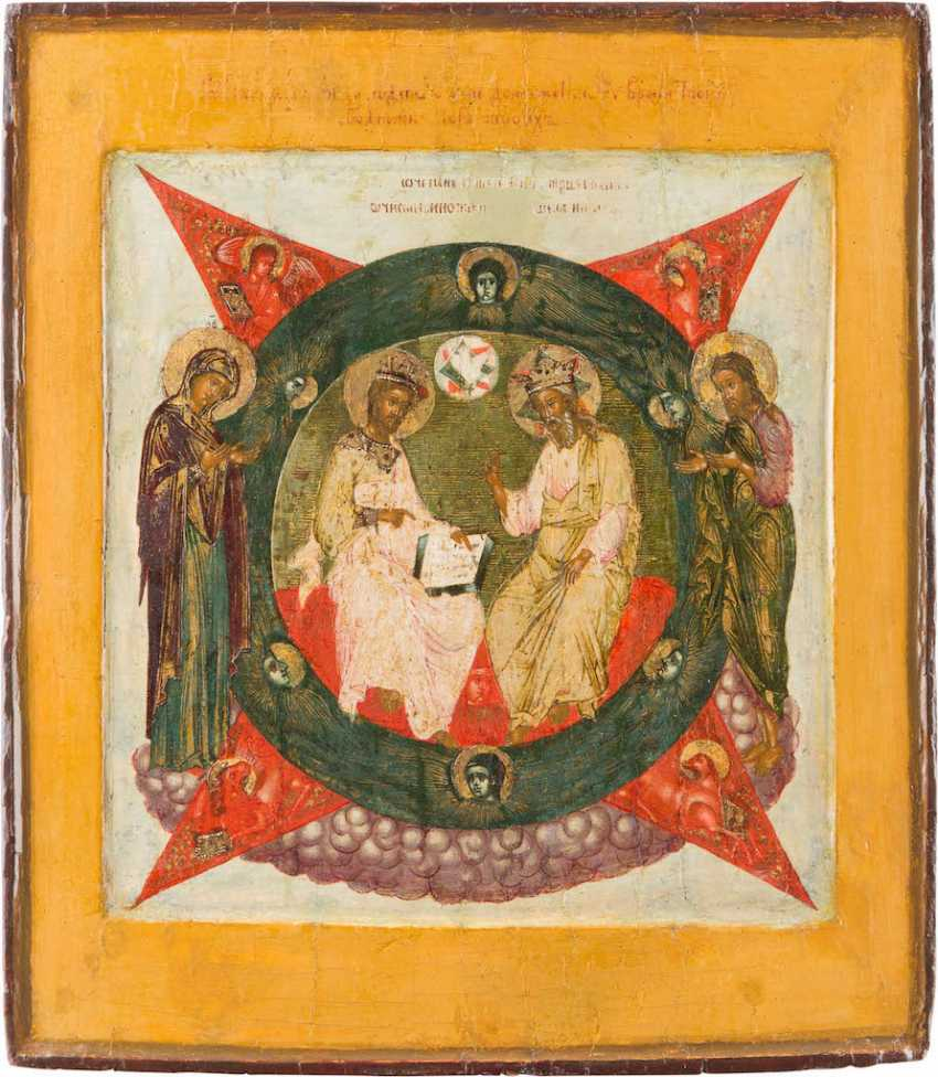 A FINE ICON OF THE HOLY TRINITY (NEW TESTAMENT TYPE) - photo 1