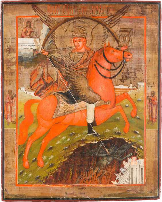 ICON WITH THE ARCHANGEL MICHAEL ARCHISTRATEGOS AS THE APOCALYPTIC RIDER - photo 1