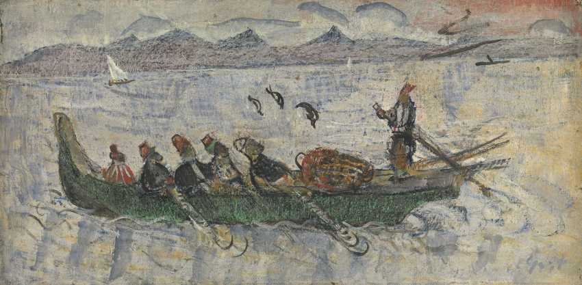 """GRISHENKO, ALEXEI (1883-1977) Men in a Boat. Istanbul , signed, further inscribed """"Constantinople"""" and dated 1921 on the reverse. - photo 1"""
