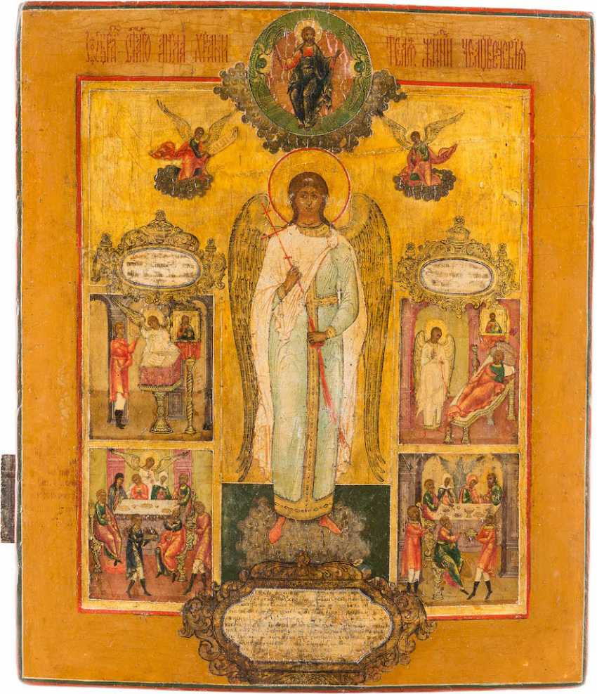 RARE ICON OF THE GUARDIAN ANGEL AND HIS DEEDS - photo 1