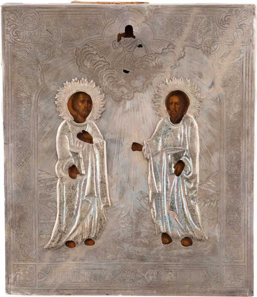 ICON OF THE APOSTLES PETER AND PAUL WITH SILVER OKLAD - photo 1