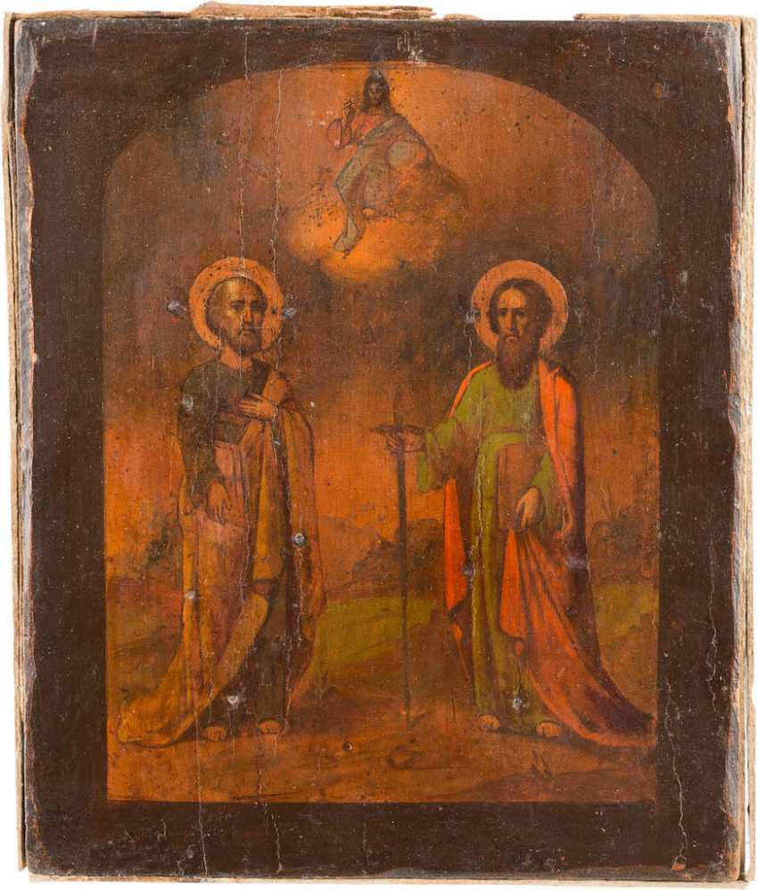 ICON OF THE APOSTLES PETER AND PAUL WITH SILVER OKLAD - photo 2
