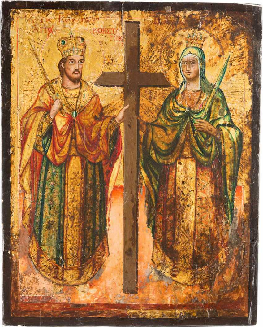 A BIG ICON WITH THE SAINTS KONSTANTIN AND HELENA - photo 1