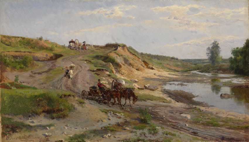 """KISELEV, ALEXANDER (1838-1911) Down by the Stream , signed and dated """"15 iiulia 1887 g"""". - photo 1"""