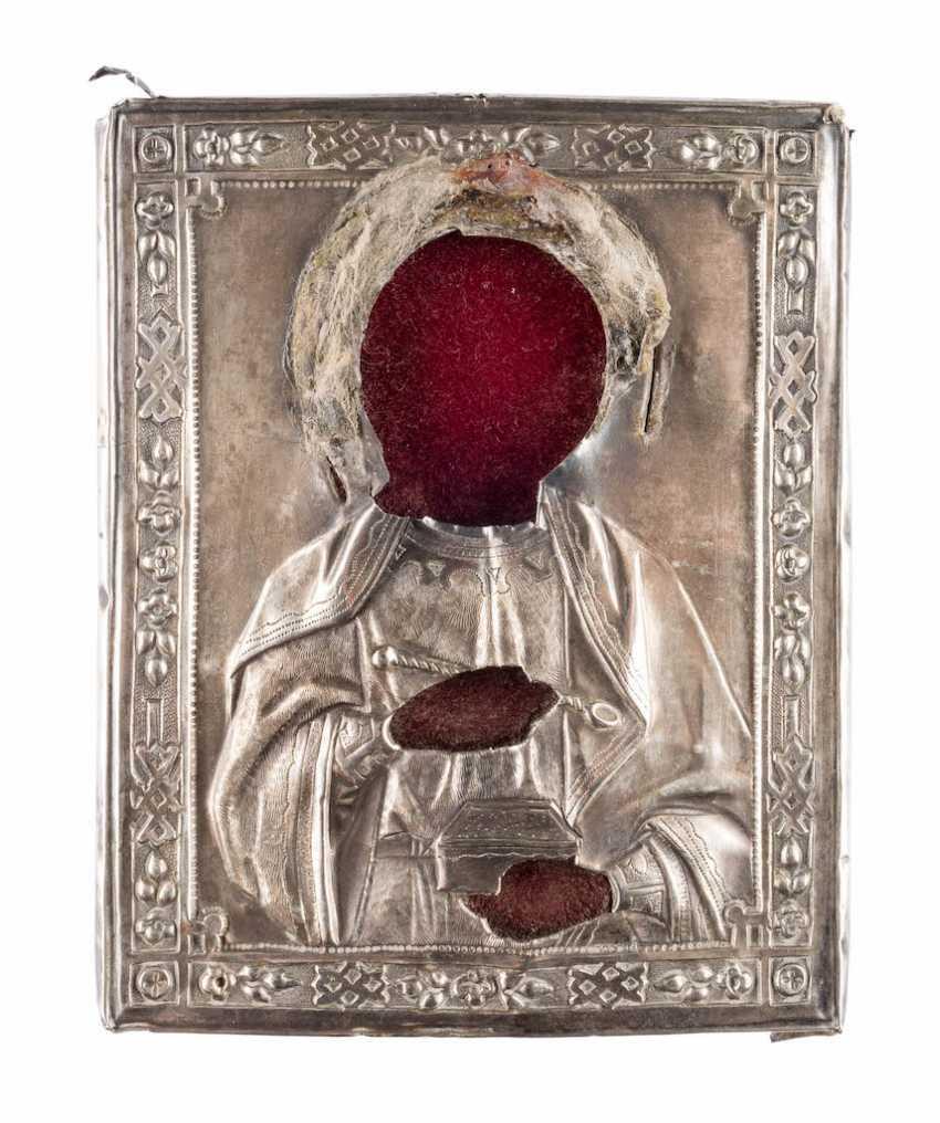 SILVER OKLAD A MINIATURE ICON OF ST. PANTELEIMON - photo 1
