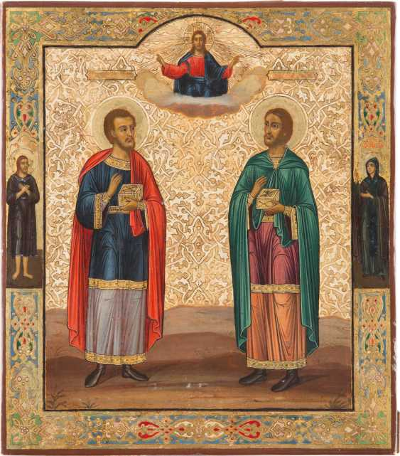A BIG ICON WITH THE DOCTOR SAINTS COSMAS AND DAMIAN - photo 1